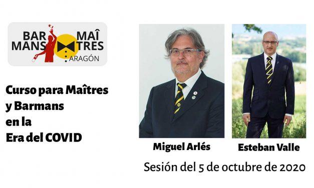 EstEbaN valle y miguel Arlés, en el curso de maîtres y barmans de aragón 05/10/2020.